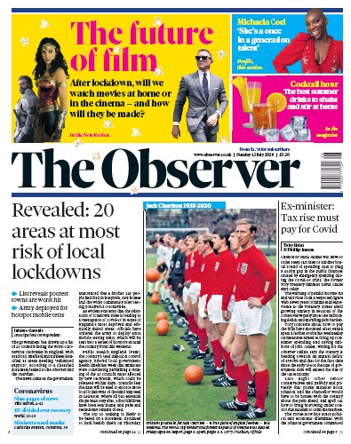 The Observer Newspaper Front Page (UK) for 12 July 2020