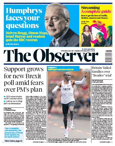 The Observer Newspaper Front Page (UK) for 13 October 2019