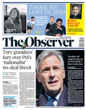 The Observer front page for 13 December 2020