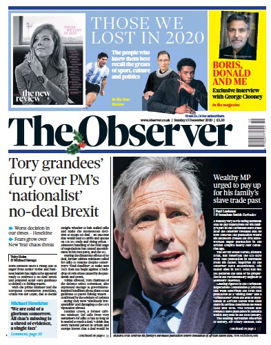 The Observer Newspaper Front Page (UK) for 13 December 2020