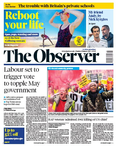 The Observer Newspaper Front Page (UK) for 13 January 2019