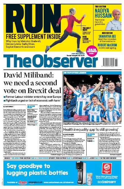 The Observer Newspaper Front Page (UK) for 13 August 2017