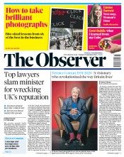 The Observer front page for 13 September 2020