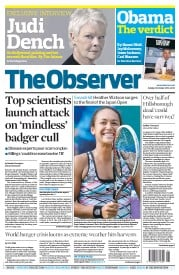 The Observer (UK) Newspaper Front Page for 14 October 2012