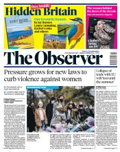The Observer front page for 14 March 2021