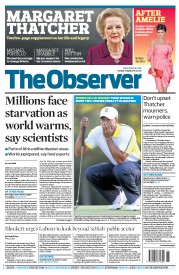 The Observer Newspaper Front Page (UK) for 14 April 2013
