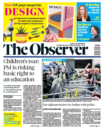 The Observer Newspaper Front Page (UK) for 14 June 2020