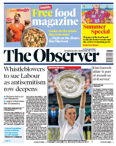 The Observer Newspaper Front Page (UK) for 14 July 2019