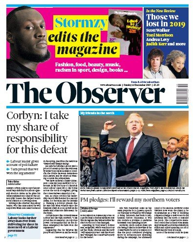 The Observer Newspaper Front Page (UK) for 15 December 2019