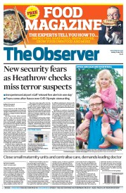 The Observer Newspaper Front Page (UK) for 15 July 2012
