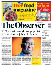 The Observer () Newspaper Front Page for 15 September 2019