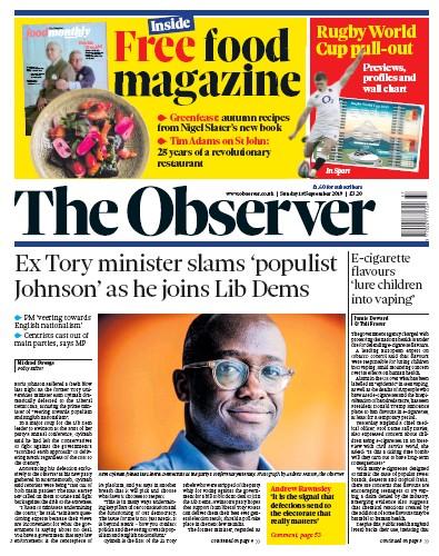 The Observer Newspaper Front Page (UK) for 15 September 2019