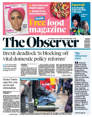 The Observer Newspaper Front Page (UK) for 16 December 2018