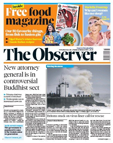 The Observer Newspaper Front Page (UK) for 16 February 2020