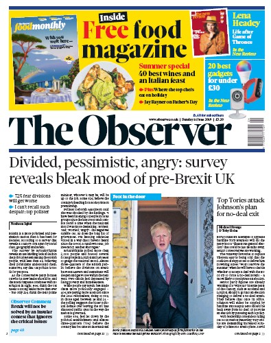 The Observer Newspaper Front Page (UK) for 16 June 2019