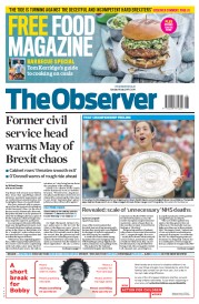 The Observer (UK) Newspaper Front Page for 16 July 2017