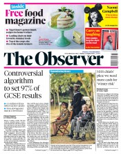 The Observer front page for 16 August 2020
