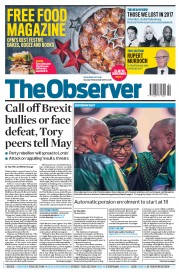 The Observer (UK) Newspaper Front Page for 17 December 2017
