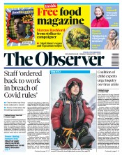 The Observer front page for 17 January 2021