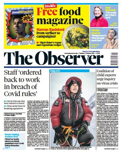 The Observer Newspaper Front Page (UK) for 17 January 2021