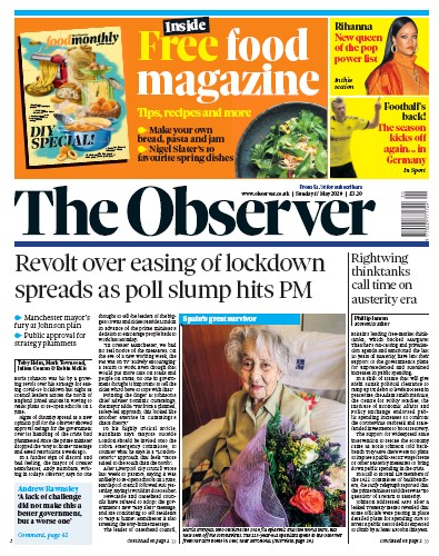 The Observer Newspaper Front Page (UK) for 17 May 2020