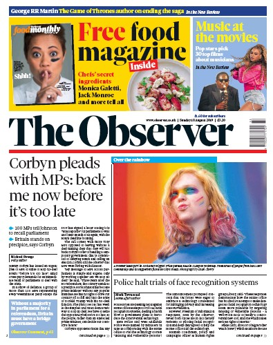 The Observer Newspaper Front Page (UK) for 18 August 2019