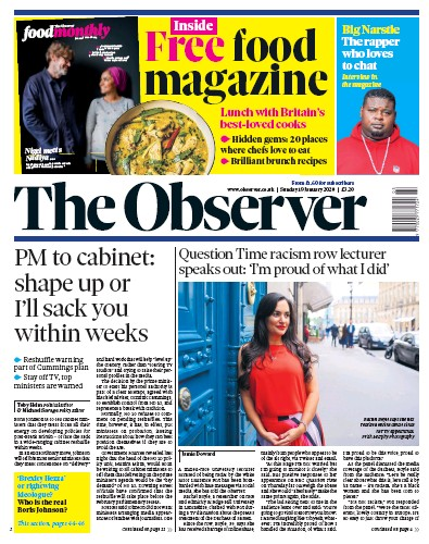 The Observer Newspaper Front Page (UK) for 19 January 2020