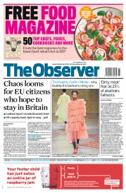 The Observer (UK) Newspaper Front Page for 19 February 2017
