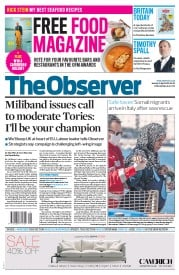 The Observer (UK) Newspaper Front Page for 19 April 2015