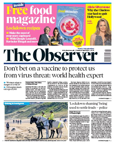 The Observer Newspaper Front Page (UK) for 19 April 2020