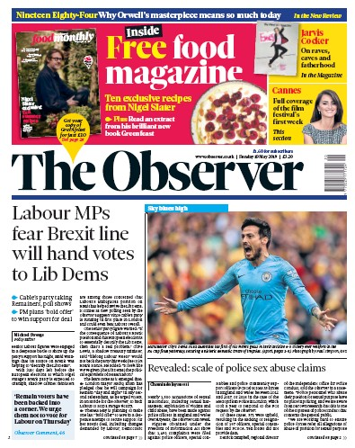 The Observer Newspaper Front Page (UK) for 19 May 2019