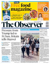 The Observer front page for 19 July 2020