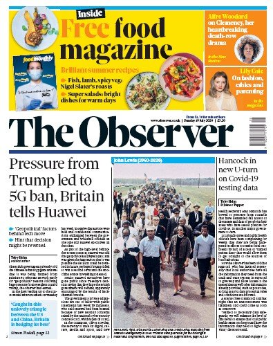 The Observer Newspaper Front Page (UK) for 19 July 2020
