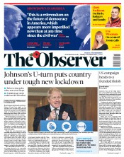 The Observer front page for 1 November 2020