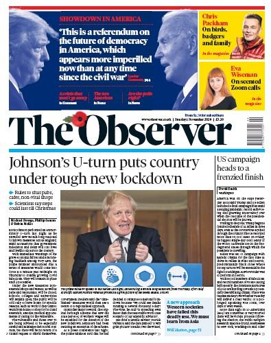 The Observer Newspaper Front Page (UK) for 1 November 2020