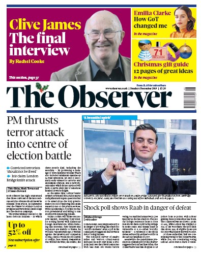 The Observer Newspaper Front Page (UK) for 1 December 2019