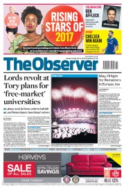 The Observer (UK) Newspaper Front Page for 1 January 2017