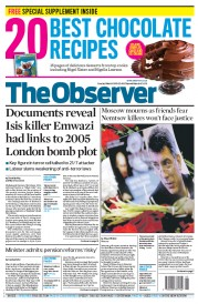 The Observer (UK) Newspaper Front Page for 1 March 2015