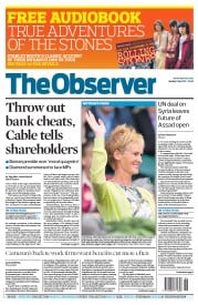 The Observer (UK) Newspaper Front Page for 1 July 2012