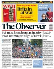 The Observer (UK) Newspaper Front Page for 1 September 2019