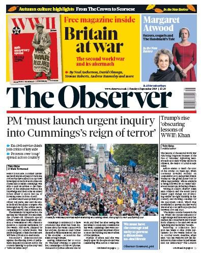 The Observer Newspaper Front Page (UK) for 1 September 2019