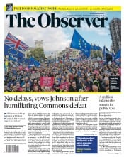 The Observer () Newspaper Front Page for 20 October 2019