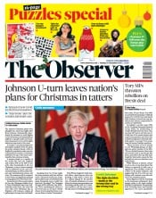 The Observer front page for 20 December 2020