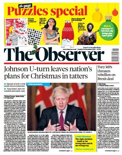 The Observer Newspaper Front Page (UK) for 20 December 2020