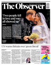 The Observer (UK) Newspaper Front Page for 20 May 2018