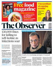 The Observer front page for 20 September 2020
