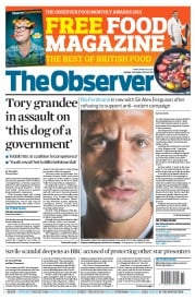 The Observer () Newspaper Front Page for 21 October 2012