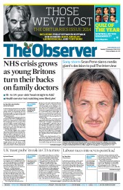 The Observer (UK) Newspaper Front Page for 21 December 2014