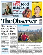 The Observer front page for 21 February 2021