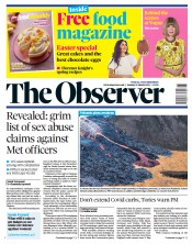 The Observer front page for 21 March 2021